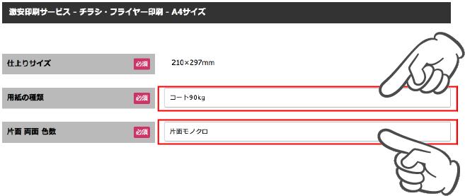 チラシ・フライヤーA4サイズページ画面